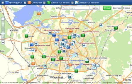 Интерактивная карта для компании «СТС-Климат»
